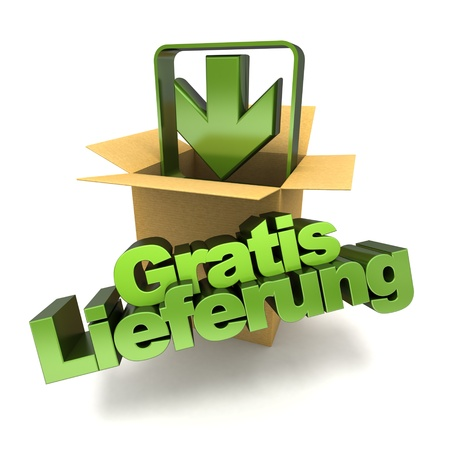 3D rendering of a free delivery concept sign in German, gratis lieferung photo