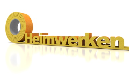 doityourself: Heimwerken, do-it-yourself in German, written in insulation roll Stock Photo