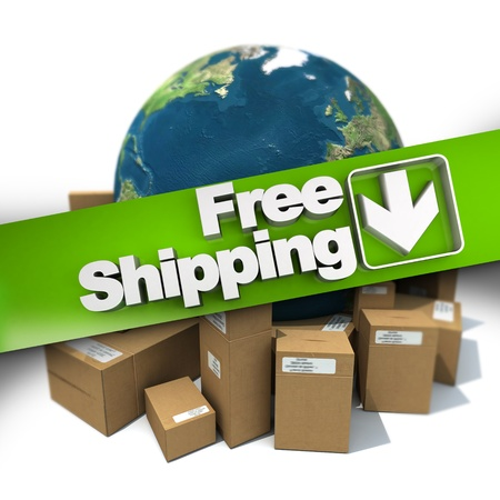 3D rendering of a free shipping concept sign with the Earth and packages photo