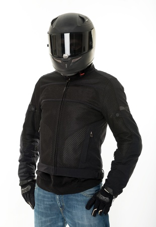 Bicker in black wearing his crash helmet photo