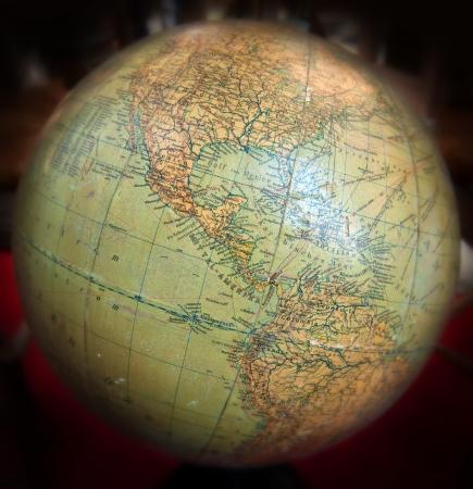 mapa de venezuela: Cierre de tiro en un globo terr?queo de la vendimia se centr? en el Caribe y Am?rica Central