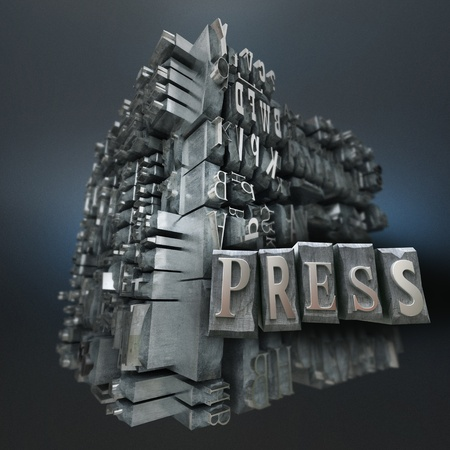 Block of metallic printing letters and the word Press Stock Photo - 20857689