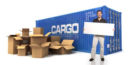 Man holding a blank sign with a cargo container and boxes on the background photo