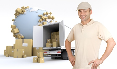 Messenger delivering a parcel in an international transport context photo