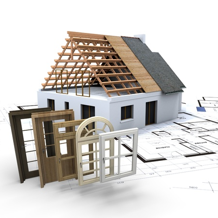 A house under construction, with blueprints and a selection of windows and doors Stock Photo - 20993202