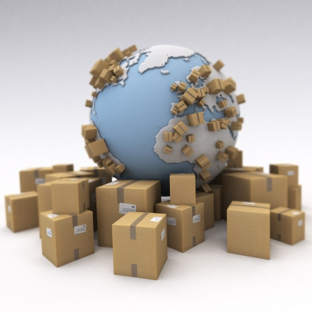 shipment parcel: The world and lots of packages