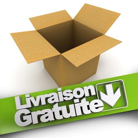 Bandera Entrega gratuita en Francia, Livraison gratuite con una caja abierta Foto de archivo - 21082389