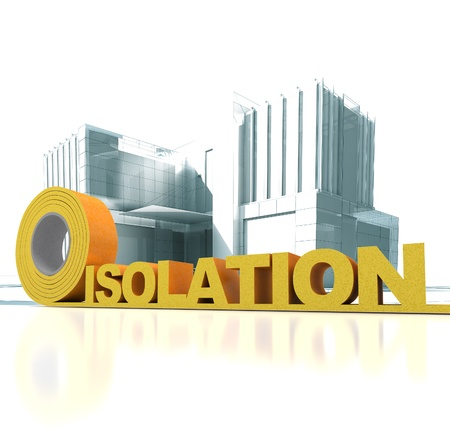 Modern looking construction with the word isolation (French) written in insulation tape Stock Photo - 21082398