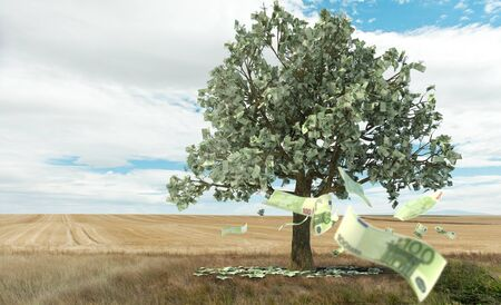 3D rendering of the concept money growing on trees photo