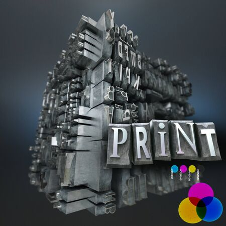 Abstract image with a block of metallic printing letters with the word print and the RGB basic colors Stock Photo - 21082467