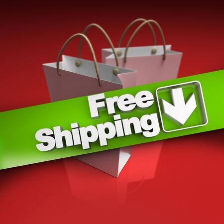 stating: Shopping bags with a banner stating free shipping