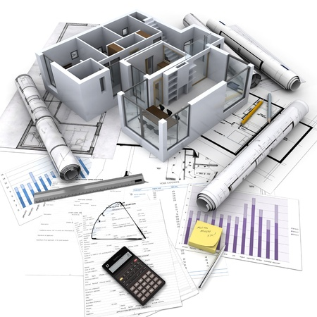 Office Building With Open Interior On Top Of Blueprints, Documents.. Stock  Photo, Picture And Royalty Free Image. Image 20993421.