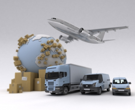 The Earth, lots of boxes and a transportation fleet made of vans, trucks and an airplane photo