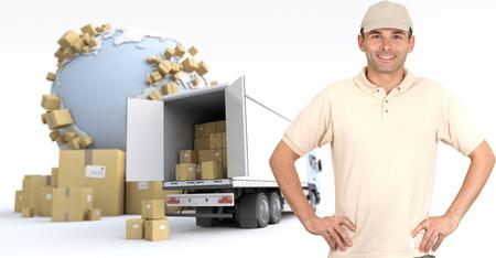 removal van: Messenger delivering a parcel in an international transport context