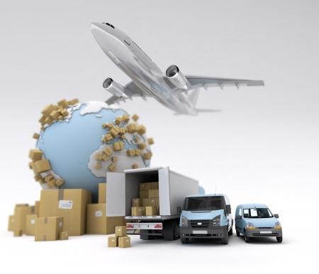 Renderização 3D da terra, caixas de papelão, uma van, um caminhão e um avião voando