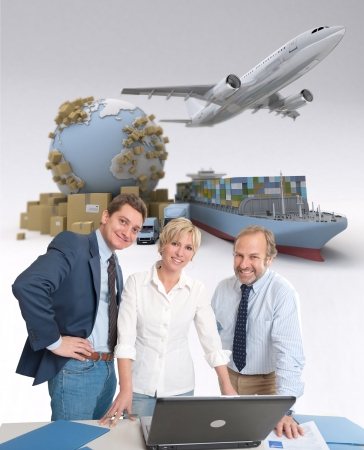 import: Work team around a computer in an international transportation context