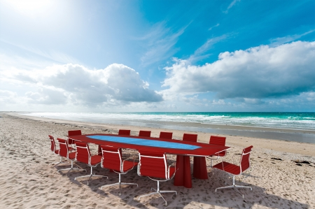 commercial event: Meeting room by the water in a beach Stock Photo