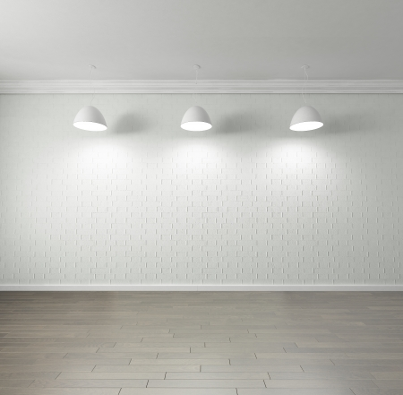 high ceiling: Rendering of an empty room with high quality parquet floor, blank brick wall, , hanging lights on the ceiling Stock Photo