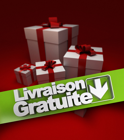 stating: Group of presents with a banner stating free shipping in French, Livraison gratuite