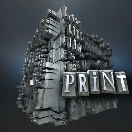 Abstract image with a block of metallic printing letters