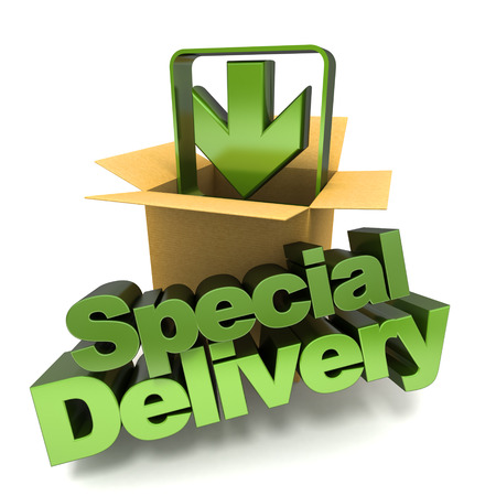 special service: 3D rendering of a special delivery concept sign