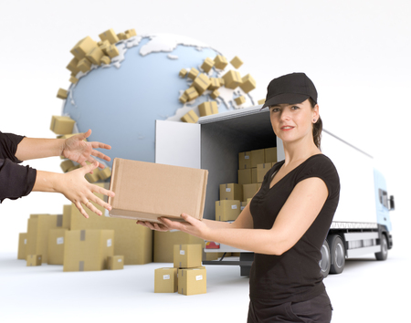 Female Messenger delivering a parcel in an international transport context Фото со стока