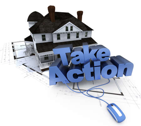 take action: The words take action on a house on top of blueprints Stock Photo