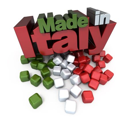 3D made in Italy with Italian flag colors photo