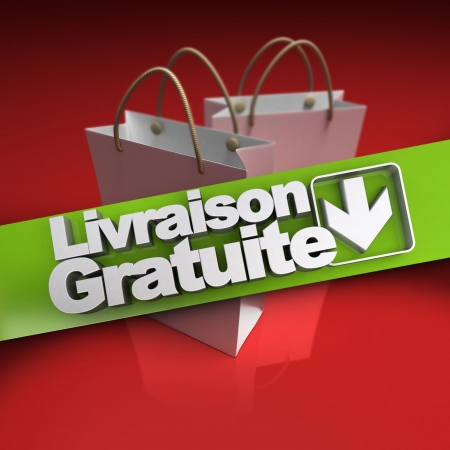 stating: Shopping bags with a banner stating free shipping in French, Livraison gratuite Stock Photo