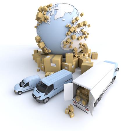 context: Unloading truck in an international transportation context Stock Photo