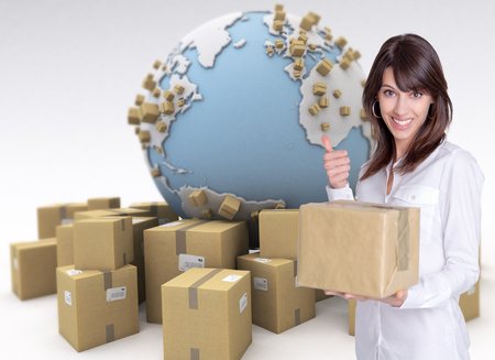 Happy female customer holding a package in an international transport background photo