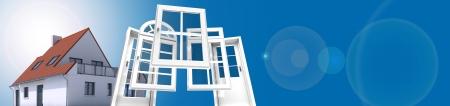Een huis met een keuze van deuren en ramen Stockfoto