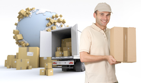 consignment: Messenger delivering a parcel in an international transport context