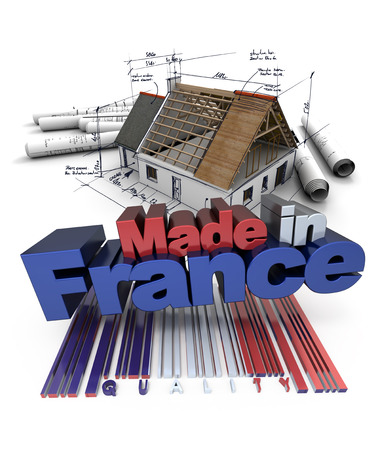 3D rendering of a house under construction with the letters made in France photo