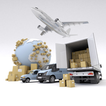 fleet: 3D rendering of the Earth, cardboard boxes, a van, a truck and a flying plane Stock Photo