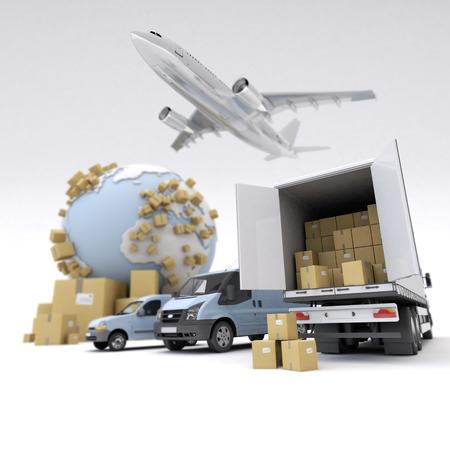 3D-rendering van de Aarde, kartonnen dozen, een bus, een truck en een vliegende vliegtuig