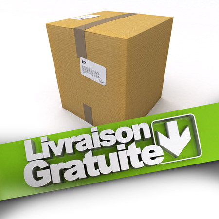 3D rendering of a cardboard box with a free delivery banner in French  Livraison gratuite photo