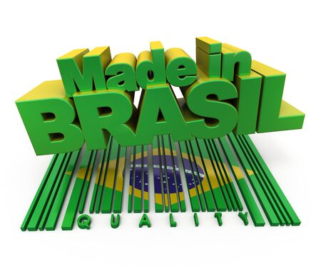 3D made in Brasil with Brazilian flag colors and a bar code marked quality photo