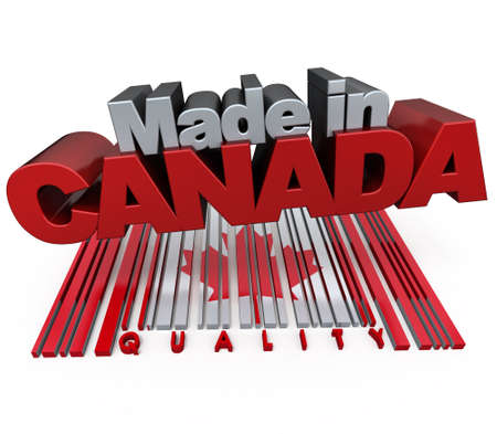 canadian icon: 3D made in Canada with Canadian flag colors and a bar code marked quality