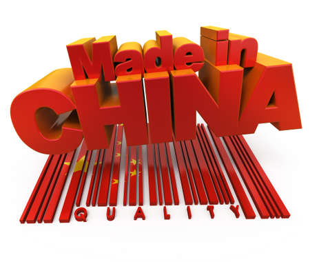 3D made in China with Chinese flag colors and a bar code marked quality photo