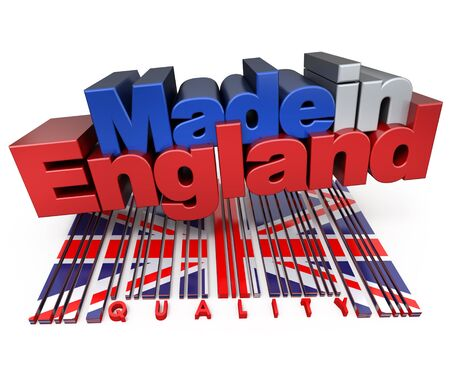 3D made in England with English flag colors and a bar code marked quality photo