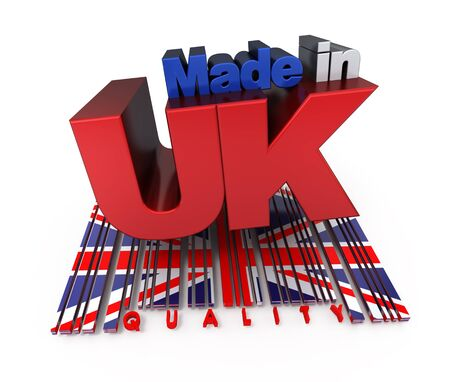 3D made in UK with English flag colors and a bar code marked quality photo