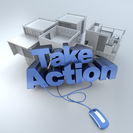 The words take action connected to a computer mouse, and a building Stock Photo
