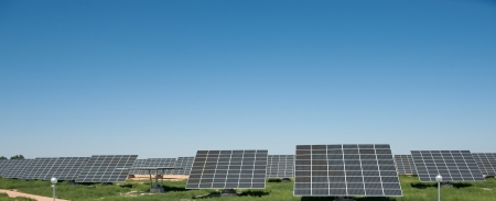 nonpolluting: Solar panels in a field Stock Photo