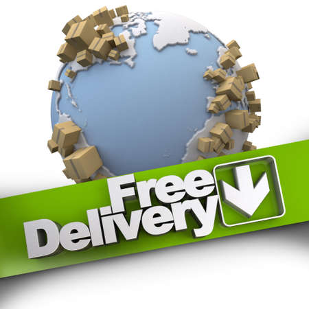 3D rendering of a free delivery concept sign with the Earth and packages Stock Photo - 22443542