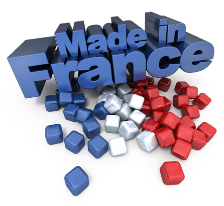 fabrication: 3D made in France with French flag colors