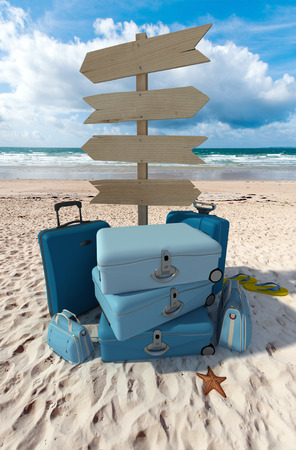 Pile of luggage and directional signs pointing everywhere in a tropical beach photo