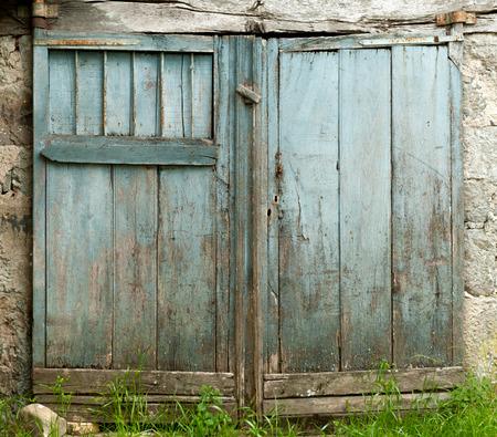 barn door: Old barn door painted blue