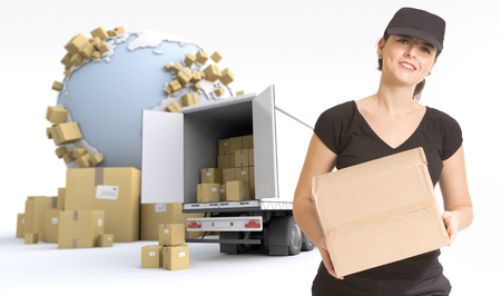 moving truck: Female Messenger delivering a parcel in an international transport context Stock Photo