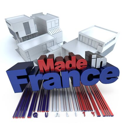 3D rendering of modern buildings with the letters made in France photo